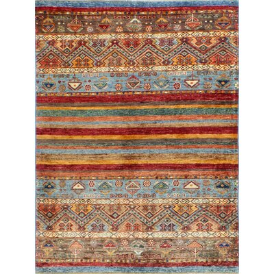 One-of-a-Kind Hartness Hand Woven Wool Brown/Blue/Orange Area Rug