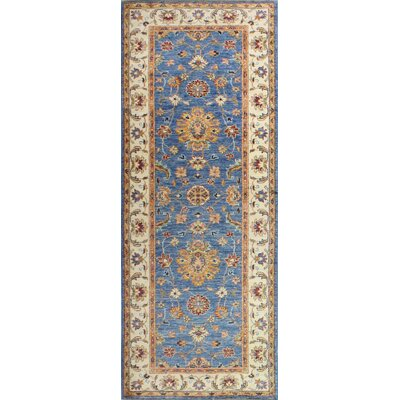 One-of-a-Kind Miliano Hand Woven Wool Light Blue/Beige Area Rug