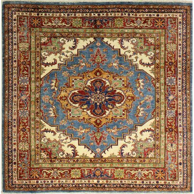 One-of-a-Kind Harrod Hand Woven Wool Light Blue/Red/Green Area Rug