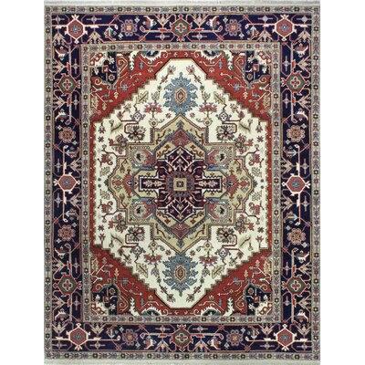 One-of-a-Kind Hartranft Hand Woven Wool Navy/Ivory Area Rug