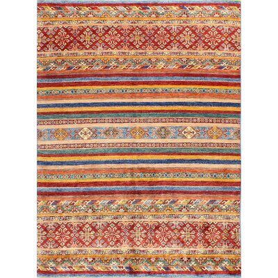 One-of-a-Kind Hartness Hand Woven Wool Red/Blue Area Rug