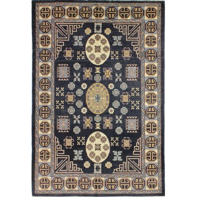 One-of-a-Kind Harvell Hand Woven Wool Dark Blue Area Rug