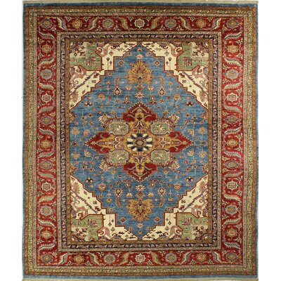 One-of-a-Kind Harrod Hand Woven Wool Red/Light Blue Area Rug