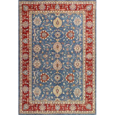 One-of-a-Kind Miliano Hand Woven Wool Light Blue/Red Area Rug