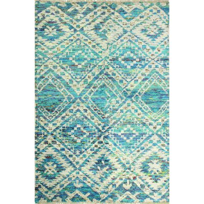 One-of-a-Kind Clauson Hand Woven Wool Blue Area Rug