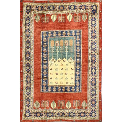 One-of-a-Kind Harrod Hand Woven Wool Red/Beige/Blue Area Rug