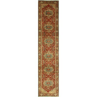 One-of-a-Kind Hartranft Hand Woven Wool Rust/Beige Area Rug