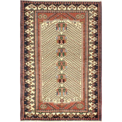 One-of-a-Kind Haslett Hand Woven Wool Ivory/Red/Brown Area Rug