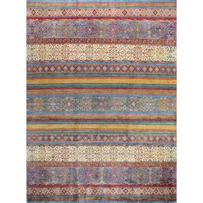 One-of-a-Kind Hartness Hand Woven Wool Dark Blue/Brown Area Rug