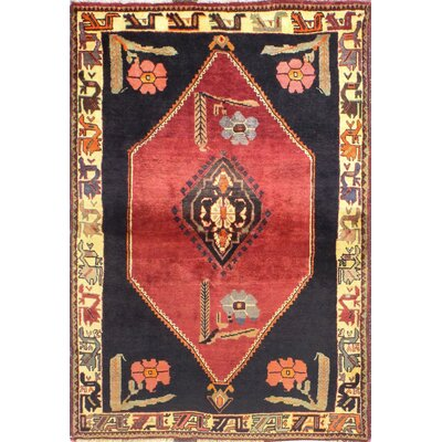 One-of-a-Kind Hartin Hand Woven Wool Black/Red Area Rug