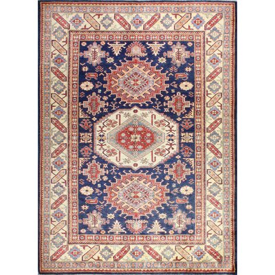 One-of-a-Kind Harrod Hand Woven Wool Beige/Dark Blue Area Rug