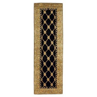 Versailles Ganges Black Rug Rug Size: Runner 26 x 8