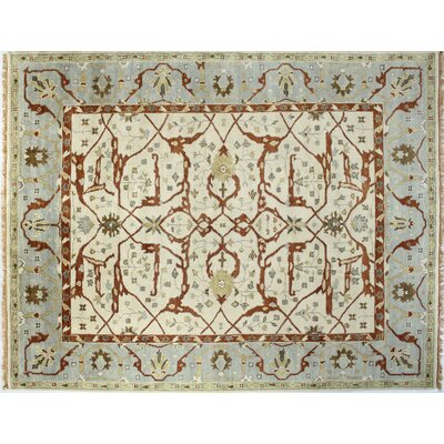 Charleston Ivory/Blue Area Rug Rug Size: Rectangle 76 x 97