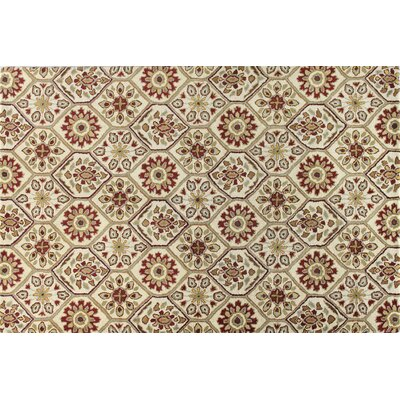 Halcott Ivory/Red Area Rug Rug Size: 36 x 56