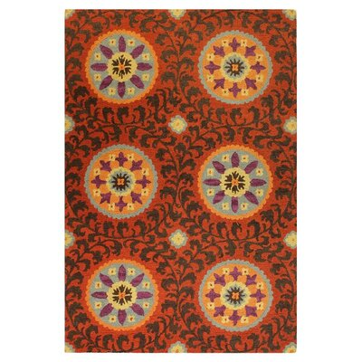 Valencia Rust Suzani Twisted Area Rug Rug Size: Runner 26 x 8