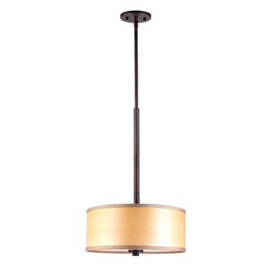3-Light Drum Pendant Shade color: Nougat wood veneer, Finish: Metallic Bronze