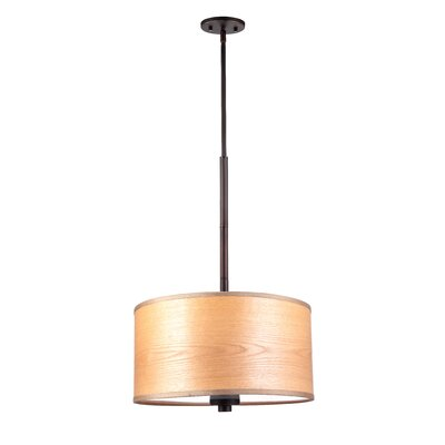 3-Light Drum Pendant Shade color: Brulee wood veneer, Finish: Metallic Bronze