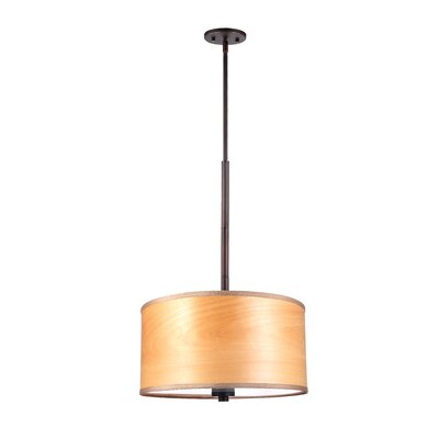 3 Light Drum Pendant Shade color: Nougat wood veneer Finish: Metallic Bronze Image
