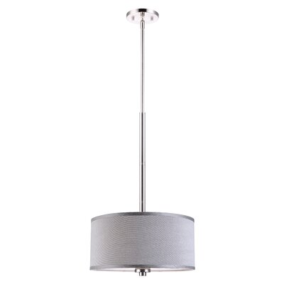 Image of 3 Light Drum Pendant Shade color: Grey Finish: Satin Nickel