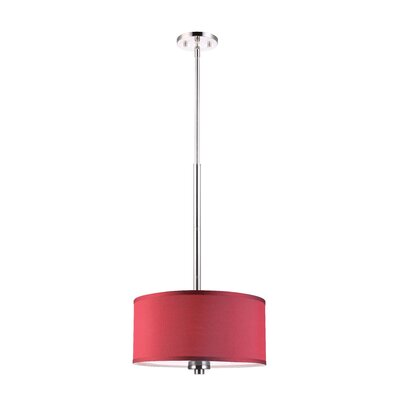 3-Light Drum Pendant Shade color: Maroon, Finish: Satin Nickel