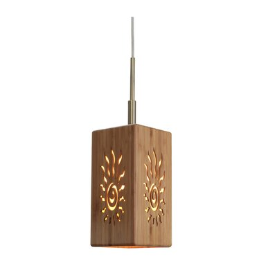 Image of Light House 1 Light Bamboo Mini Pendant Hardware finish: Classic brass