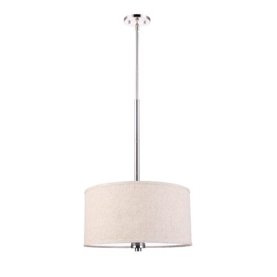 3-Light Drum Pendant Shade color: Beige, Finish: Satin Nickel
