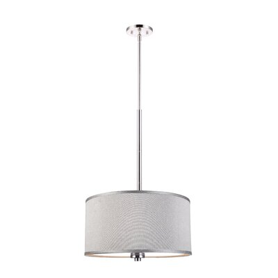 3-Light Drum Pendant Shade color: Grey, Finish: Satin Nickel