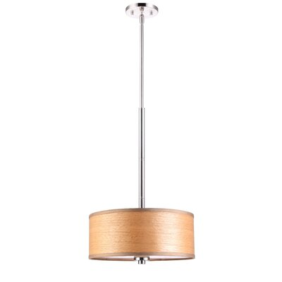Image of 3 Light Drum Pendant Shade color: Brulee wood veneer Finish: Satin Nickel
