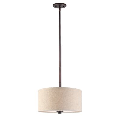 3-Light Drum Pendant Shade color: Beige, Finish: Metallic Bronze