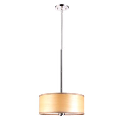 3 Light Drum Pendant Shade color: Nougat wood veneer Finish: Satin Nickel