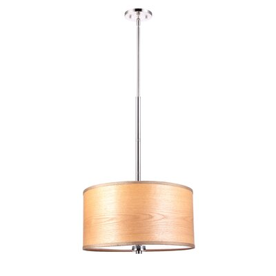 3-Light Drum Pendant Shade color: Brulee wood veneer, Finish: Satin Nickel