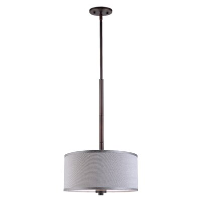 3-Light Drum Pendant Shade color: Grey, Finish: Metallic Bronze