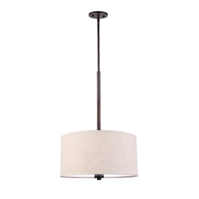 3 Light Drum Pendant Shade color: Beige Finish: Metallic Bronze