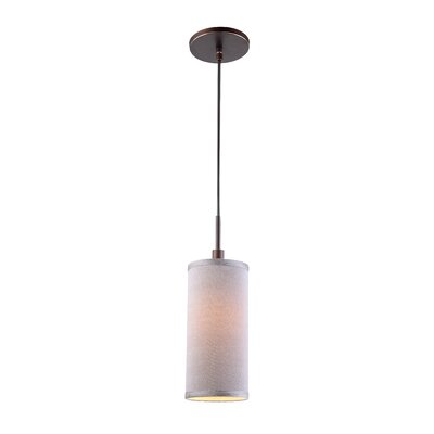 1-Light Mini Pendant Shade color: Grey, Finish: Metallic Bronze