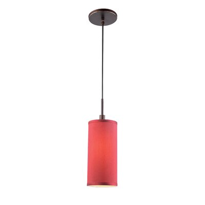 1-Light Mini Pendant Shade color: Maroon, Finish: Metallic Bronze