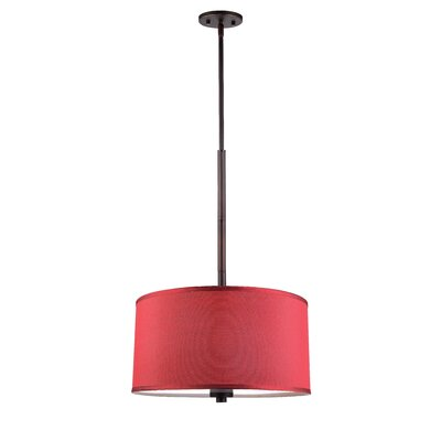 3 Light Drum Pendant Shade color: Maroon Finish: Metallic Bronze