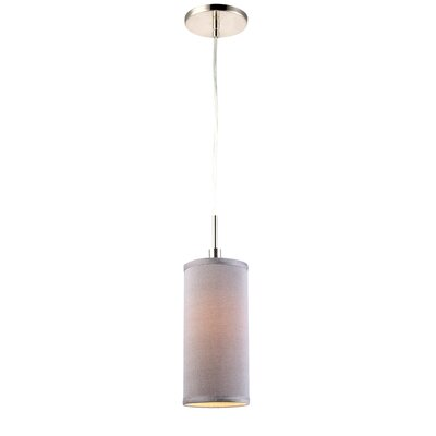 1-Light Mini Pendant Shade color: Grey, Finish: Satin Nickel