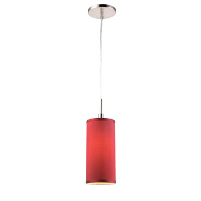 1-Light Mini Pendant Shade color: Maroon, Finish: Satin Nickel