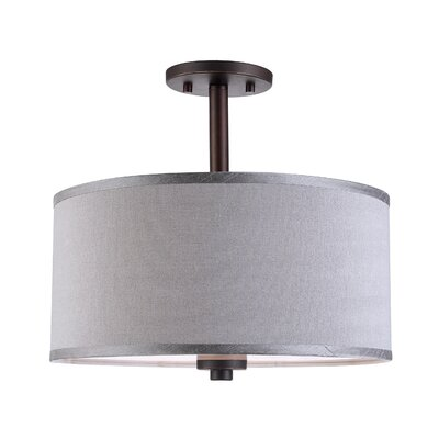 3-Light Semi Flush Mount Shade color: Grey
