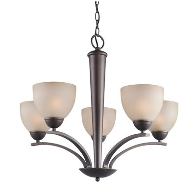 North Bay 5-Light Shaded Chandelier Finish: Metallic Bronze, Shade Color: Burnt Etched, Shade Shape: Bell