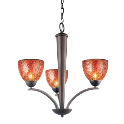 North Bay 3-Light Shaded Chandelier Finish: Metallic Bronze, Shade: Amber Mosaic