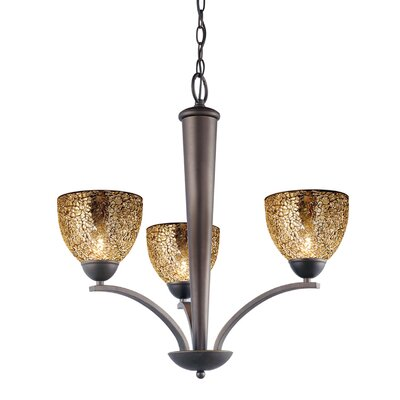 North Bay 3-Light Shaded Chandelier Finish: Metallic Bronze, Shade: Mirror Mosaic
