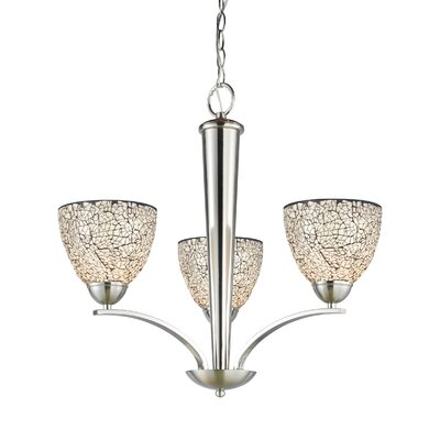 North Bay 3-Light Shaded Chandelier Finish: Satin Nickel, Shade: White Mosaic