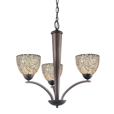 North Bay 3-Light Shaded Chandelier Finish: Metallic Bronze, Shade: White Mosaic