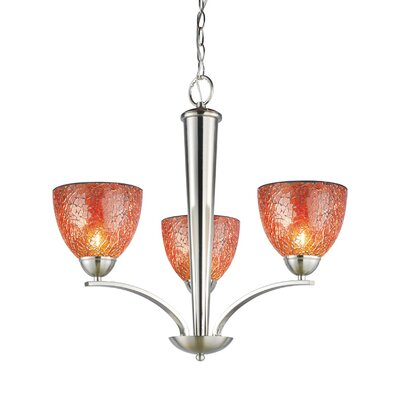 North Bay 3-Light Shaded Chandelier Finish: Satin Nickel, Shade: Amber Mosaic