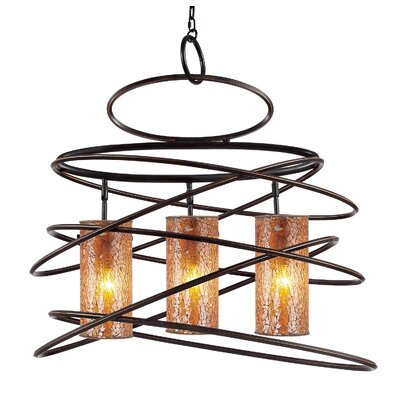 Loop 3 Light Chandelier Shade color: Amber mosaic cylinder