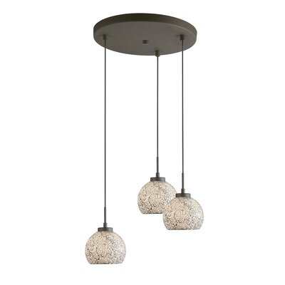Ceiling Cluster 3-Light Mini Pendant Shade Color: White Mosaic, Finish: Metallic Bronze