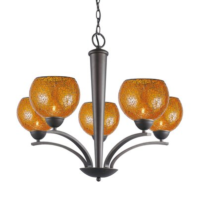 North Bay 5-Light Shaded Chandelier Finish: Metallic Bronze, Shade Color: Amber Mosaic, Shade Shape: Elliptic Ball