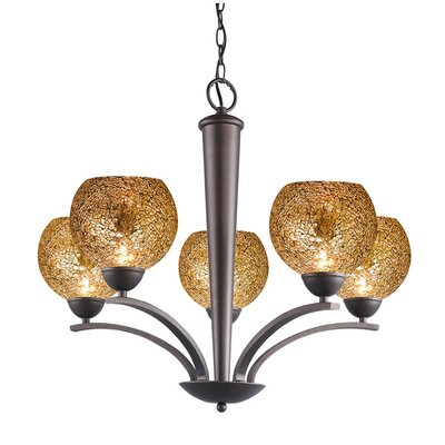Image of North Bay 5 Light Chandelier Finish: Metallic Bronze Shade Color: Mirror Mosaic Shade Shape: Elliptic Ball