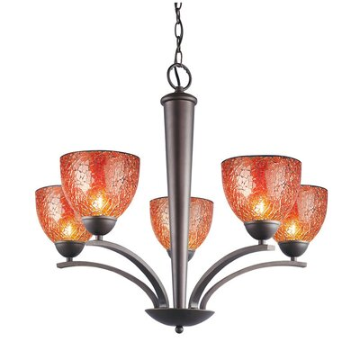 Image of North Bay 5 Light Chandelier Finish: Metallic Bronze Shade Color: Amber Mosaic Shade Shape: Bell